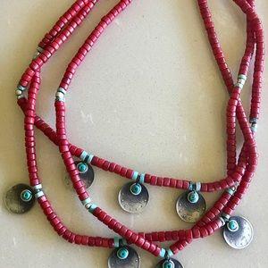 Vintega Dark Red and Silver Necklace